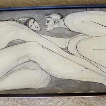 Large Black & White Painting Vintage -  Artist Signature?? - Fine Art