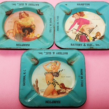 1950's PIN UP GIRL Advertising Tin Ashtrays - Advertising
