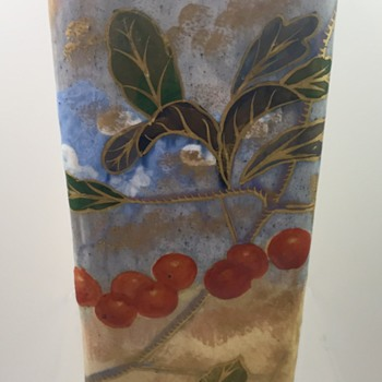Emile Gallé Faience Triangular Vase with Cherries, ca. 1884-1889; Original Paper Label - Pottery