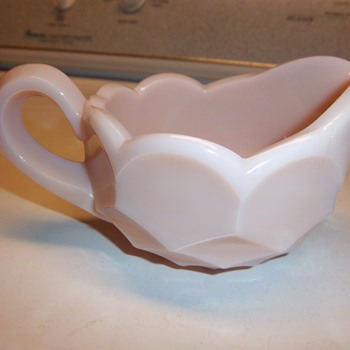 Pink Milk Glass Creamer ? - Glassware