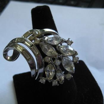 Trifari Silver Rhinestone pin - Costume Jewelry