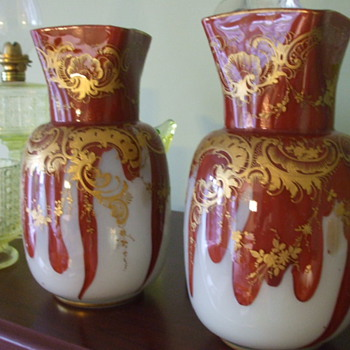 Matching Pair of LEGRAS Red Fire & Opaline Glass with Aventurine VASES - Art Glass