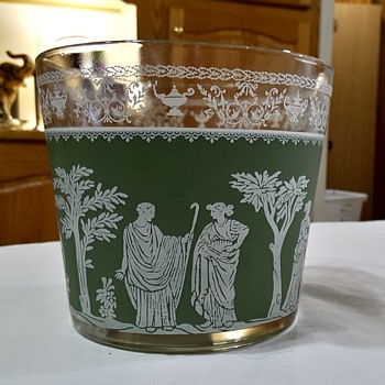 "Antique Bowl 5"" Tall 5-3/4"" Wide with Roman Images? and Gold Trim - Glassware"