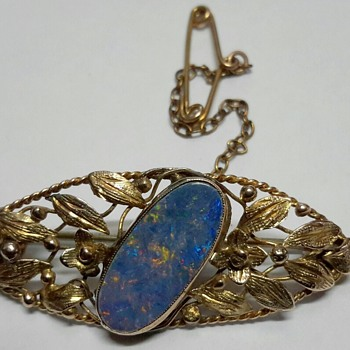 "C1930 ""School of Rhoda Wager"" 9ct gold Brooch with White Cliffs Opal Doublet.. Mystery Solved thanks to KiwiPaul - Fine Jewelry"