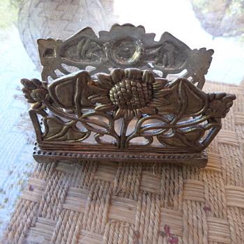 Vintage Sunflower Silver Metal Napkin Holder/Letter Holder - Art Nouveau