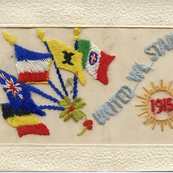 Hand embroidered silk post card - Military and Wartime