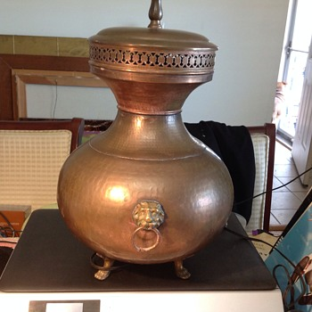 antique copper and brass lamp  - Lamps