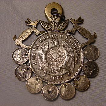 Handmade Art Piece Silver Coin Pendant Chile 1 Peso Surrounded by Smaller Coins