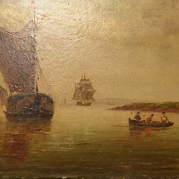 Small, Old Painting of Ships in a Harbor and Crew in Dinghy on way to shore - Fine Art