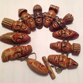 Unusual wooden bracelet - Folk Art