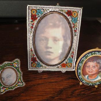 Antique Flower Micro Mosaic Photo Frame