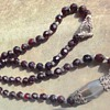 Antique Bohemian garnet silver bead necklace.