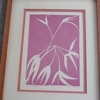 """Henry Evans Linocut Print  """"Bamboo""""  1967   #52/75 - Fine Art"""