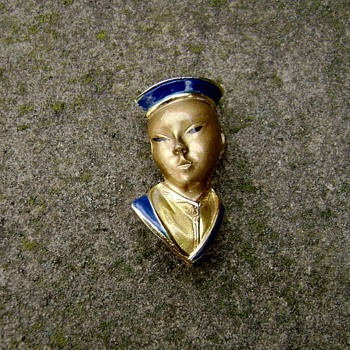 Trifari Asian Man Head Pin - Costume Jewelry