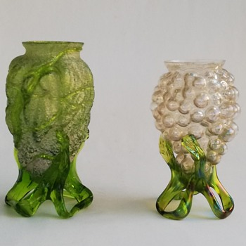 Bohemian Vase with Frit and Trailing - Art Glass