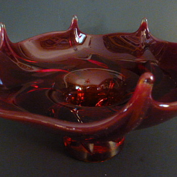 Art Glass (Viking?) pedestal bowl - Art Glass