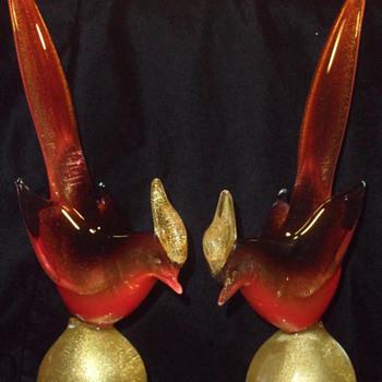 Archimedes Seguso  Aventurine Polveri Pheasants ~ Pair - Art Glass