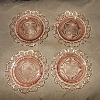 Set of Four Hocking Glass Luncheon Plates Old Colony Pattern 1935-1938 Depression Glass - Glassware