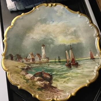 Limoges France Flambeau Harbor scene plate.