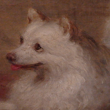 Painting Of An American Eskimo/Spitz Dog By George Augustus Baker, Jr. (1821-1880)  - Fine Art