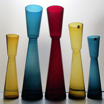 Blomglas Vases designed by Fabian Lundqvist for Alsterfors 1962 - Art Glass