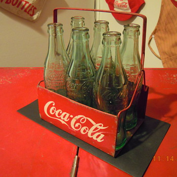 Late 1940's Coca-Cola Six Bottle Carrier, Metal w/Wire Handle - Coca-Cola