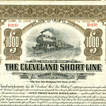 Cleveland Short Line Railway Bond