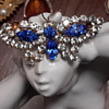 Unsigned 1950sblue&white rhinestone butterfly