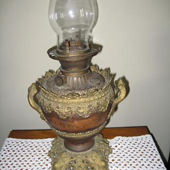My Scottish Grandfathers oil lamp stamped 102 on the Bottom - Lamps
