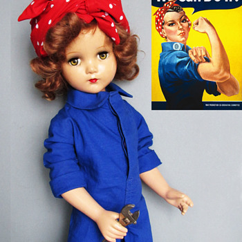 "20"" Arranbee Composition Nancy Lee Doll c. 1940s as Rosie the Riveter - Dolls"