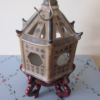 Chinese  Calligrapy  Pottery Hanging Lantern - Asian