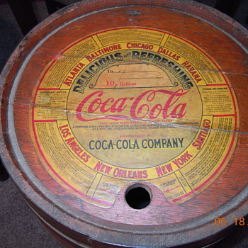 1930's Coca-Cola Wood Syrup Keg, Paper Label, Ten Gallon - Coca-Cola