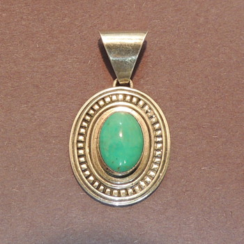 E. JACKSON - Native American Sterling & Turquoise Pendent - Fine Jewelry