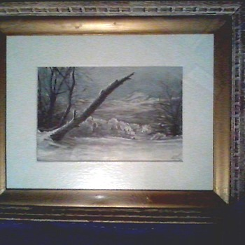 """Winter Landscape"" Oil on Art Paper Mounted to Board/8""x 12"" Signed H.G.Downs/Circa 1920  - Fine Art"