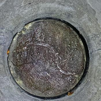 Mysterious Scene on Bottom of Edo/Meiji Period Bronze Vessel - Asian