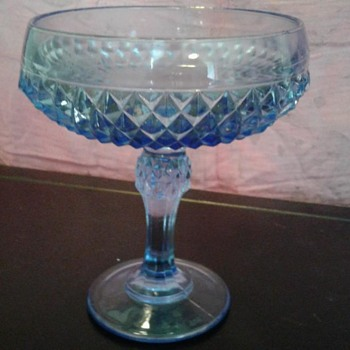 Blue glass dish with pedestal - Glassware