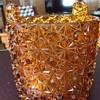Yard sale amber glass vase