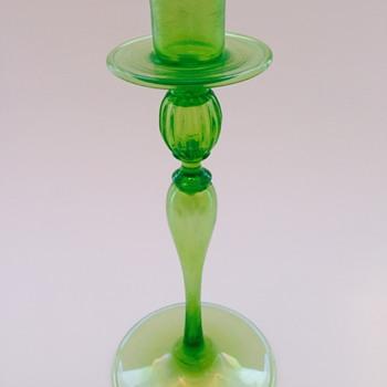 Iridized candlestick. - Art Glass