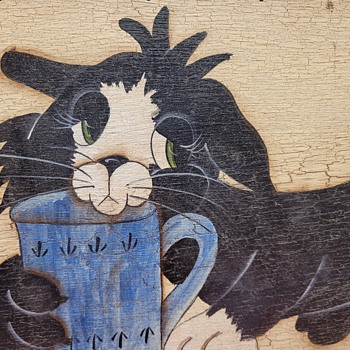 Painted Cat on Board  - Folk Art