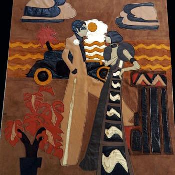 Signed Vintage Cardini 1972 MOD Great Gatsby Leather Wall Art from UK  - Folk Art