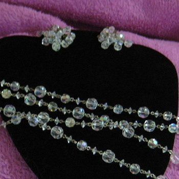 1920's Opera Length Cut Crystal Bead Necklace and Vintage stellar chandelier crystal Earring Set - Costume Jewelry