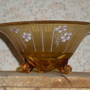Bohemian Art Deco enamel glass bowl. - Art Glass