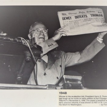 Dewey Defeats Truman - Early Press Release Mistake by Chicago Tribune Nov 4th 1948 - Politics