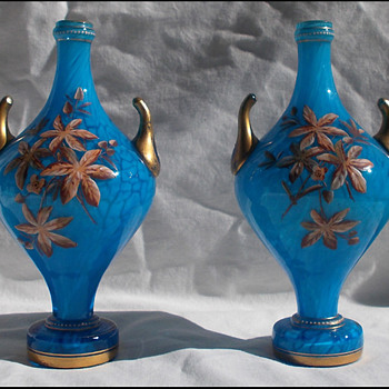 Pair Harrach Mantle Vases  - Art Glass