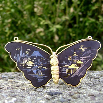 Amita Japan Butterfly Brooch - Costume Jewelry
