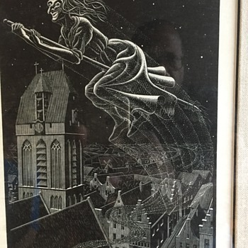 Flying witch black and white Signed numbered art