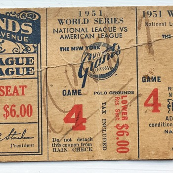 Ticket Stubb from the Giants 1951 World Series Game 4  - Baseball