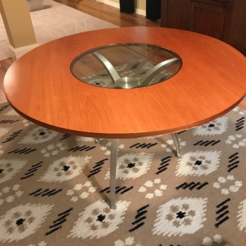 60's? groovy glass, wood, metal table - Furniture