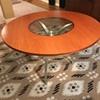 60's? groovy glass, wood, metal table