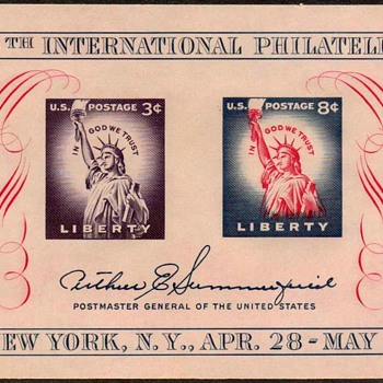 "1956 - ""Philatelic Exhibition"" Souvenir Sheet (US) - Stamps"